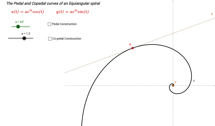 Pedal and Co-pedal curve of the logarithmic spiral
