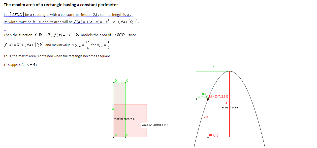 The variable area of a constant perimeter rectangle
