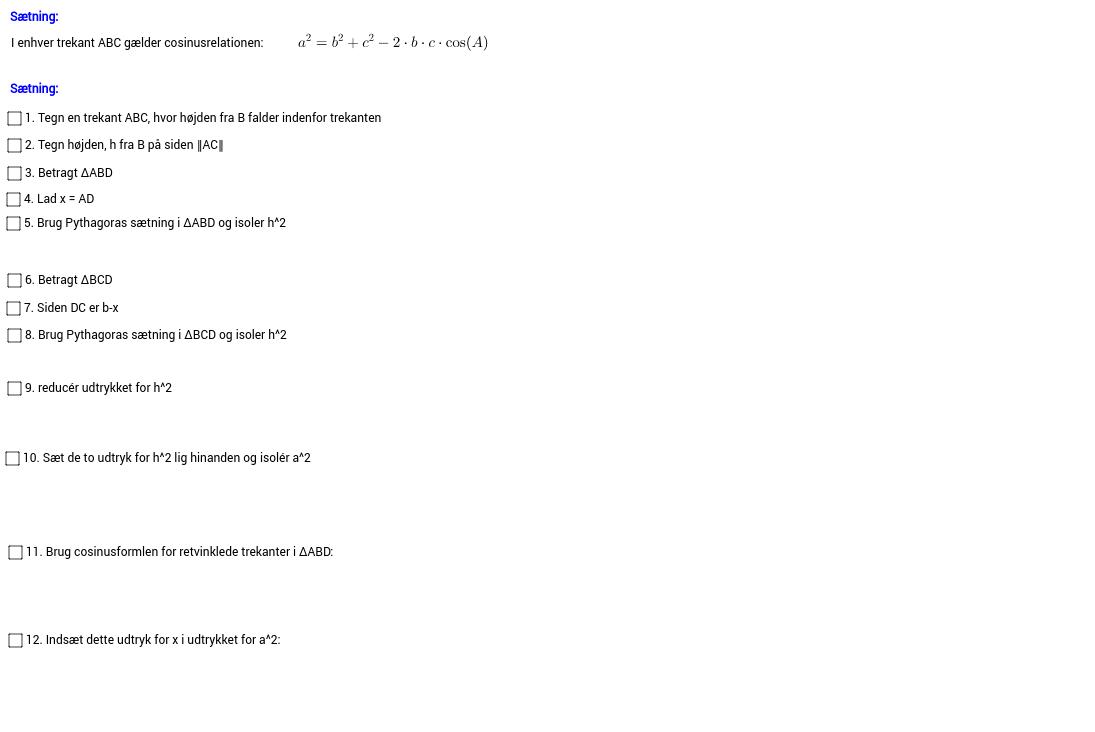 Klikbevis cosinusrelationerne