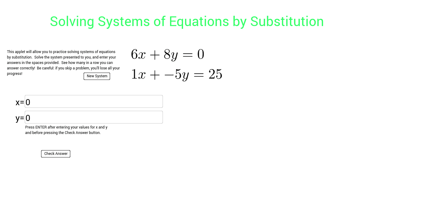 Worksheets Solving Systems Of Equations Worksheet solving systems of equations by substitution geogebra solve the system also numbers are randomly generated so your answers will most likely be ugly fractions this is ok please do best