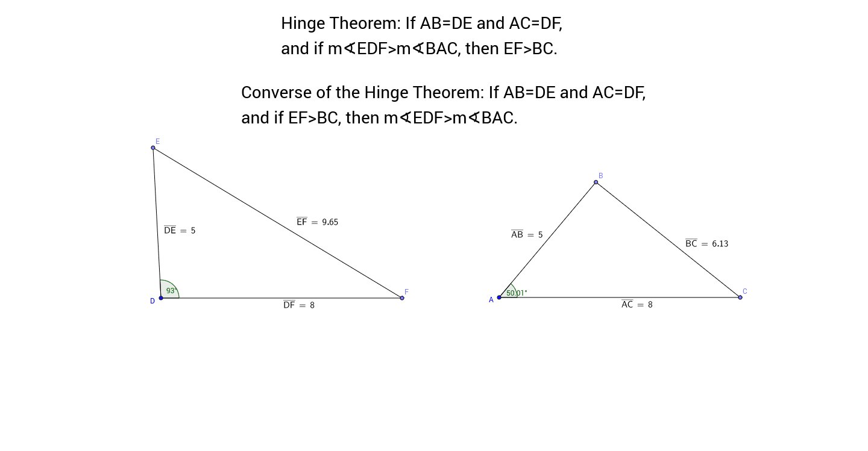 worksheet Hinge Theorem Worksheet the hinge theorem and its converse geogebra