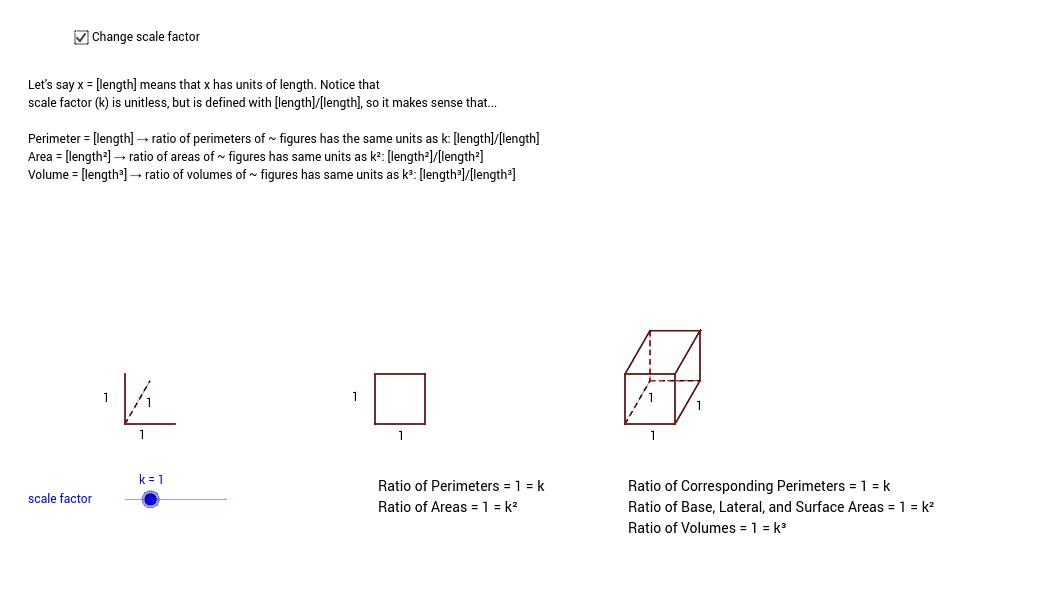 11.2 & 12.3 Ratios of Perimeters, Areas, and Volumes - GeoGebra