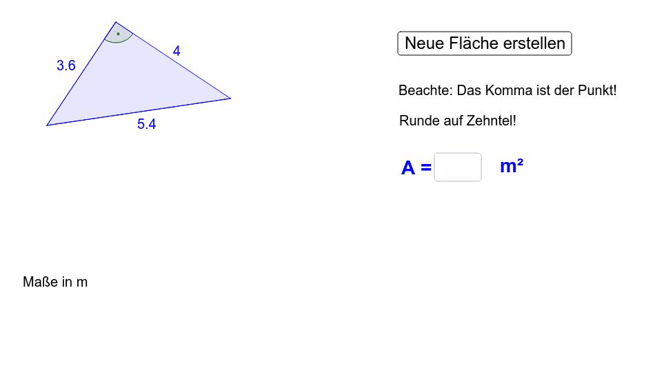 fl cheninhalt eines rechtwinkligen dreiecks berechnen 2 geogebra. Black Bedroom Furniture Sets. Home Design Ideas