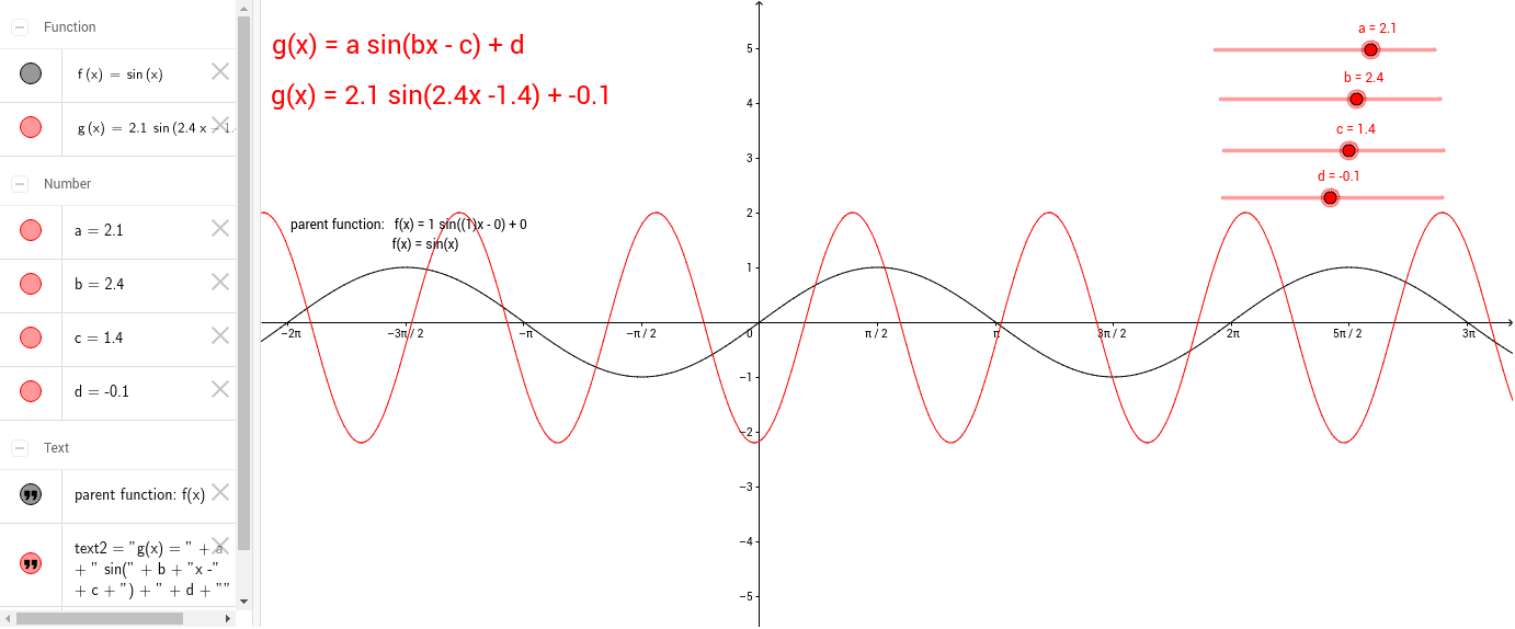 Sine functions standard form geogebra move the sliders for a b c and d and observe how each value changes the graph of fx sinx then use this applet to answer the questions on your falaconquin
