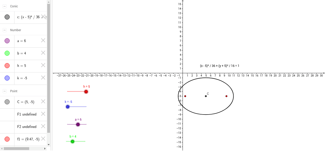 graphing an ellipse in standard form geogebra. Black Bedroom Furniture Sets. Home Design Ideas