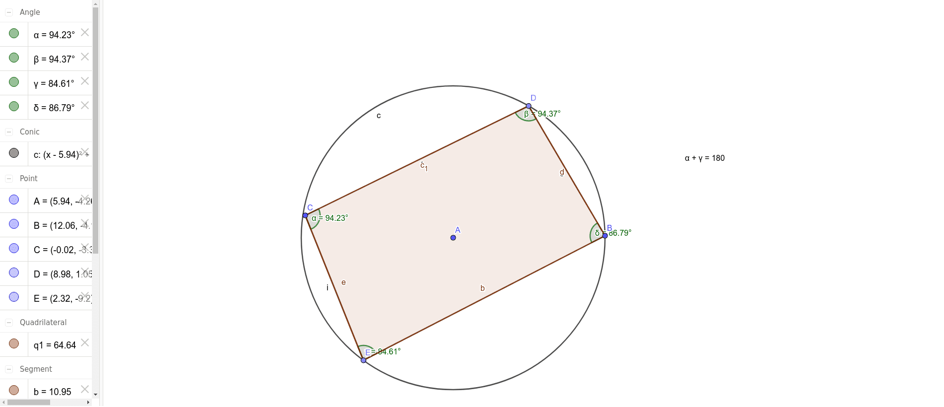 Opposite angle in a cyclic quadrilateral geogebra opposite angle in a cyclic quadrilateral ccuart Choice Image