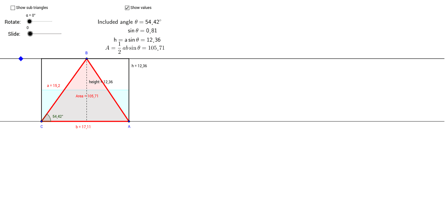 Triangle Area Worksheet Geogebra