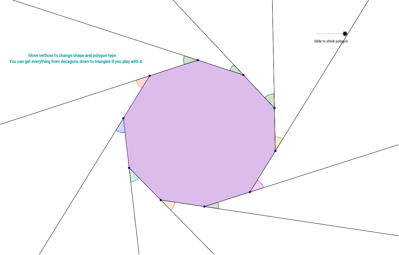 Copy of explore the sum of the exterior angle measures of Exterior angle measure of a decagon