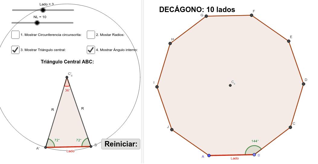 Ngulos Internos De Pol Gonos Regulares Geogebra